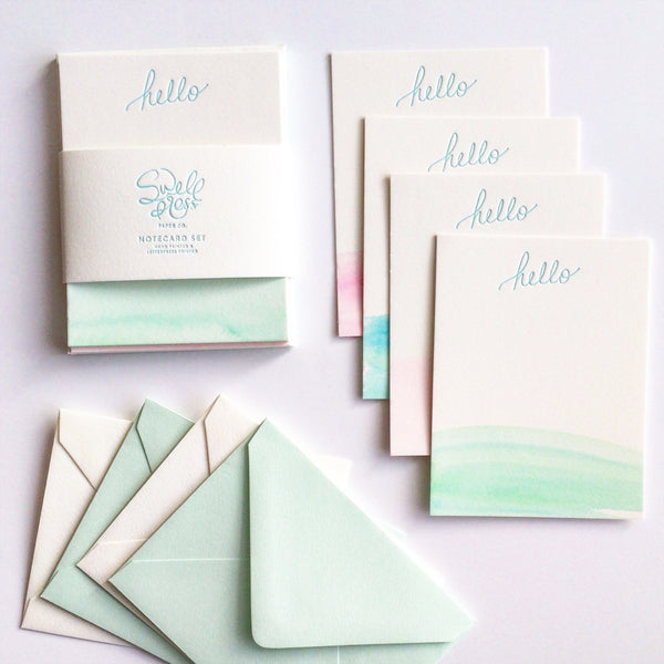 Swell Press Paper 'Hello' Notecard Set