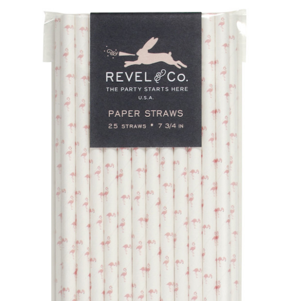 Revel & Co. Flamingo Paper Straws