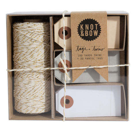 Knot and Bow Gold / Neutral Tag + Twine Box