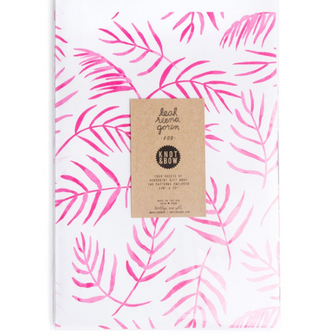 Knot and Bow Pink Floral Newsprint Gift Wrap