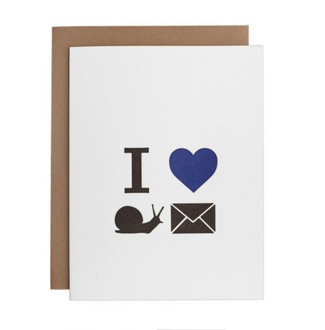 Underwood Letterpress I Heart Snail Mail Card