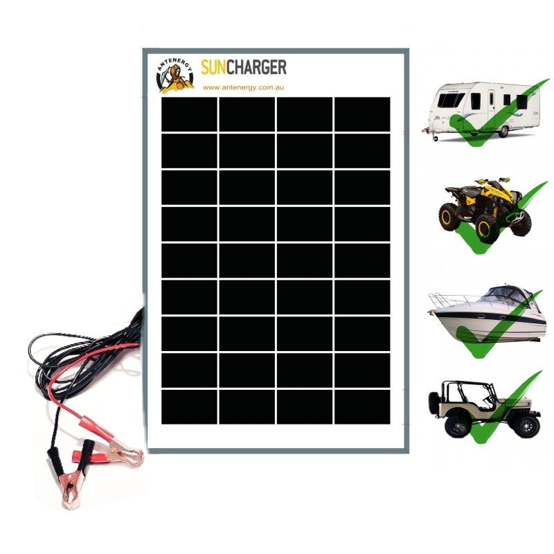 10W 12V Portable SOLAR TRICKLE BATTERY CHARGER car RV camp marine atv AGM