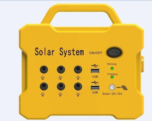 Solar Light Kit System - AGM Battery - 10W Panel - 2x bright 3W LED Lights RADIO
