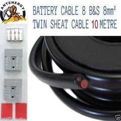 10 METRE BATTERY CABLE 8 B&S 8mm² 8mm2 TWIN SHEATH CABLE 2X ANDERSON PLUGS