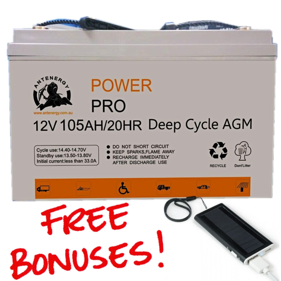 ANTENERGY 12V 105AH 840CCA AGM DEEP CYCLE BATTERY for CARAVAN SOLAR CAMPING MARINE