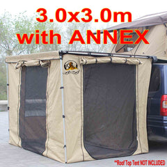 3m X 3m 4WD 4X4 SIDE CAR Pull Out AWNING with Annex Room