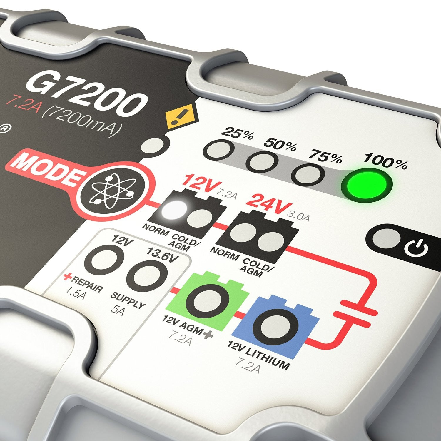 Noco Genius G7200 12v 24v 72a Ultrasafe Smart Battery Charger Agm 7ah Lead Acid