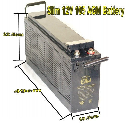 ANTENERGY 12V 105AH SLIM AGM DEEP CYCLE BATTERY FOR CARAVAN SOLAR CAMPING MARINE 4X4 4WD