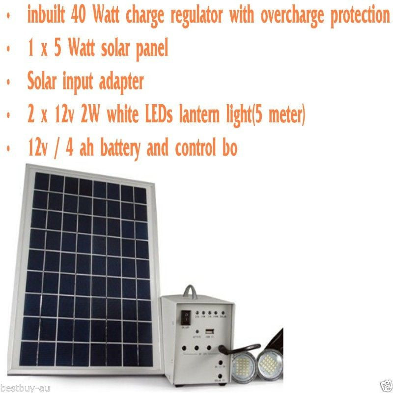 SOLAR  POWERERED & AGM Battery & LED LIGHT KIT for CAMPING CARAVAN