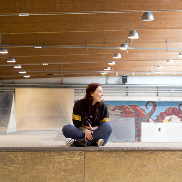 Charlotte Thomas sitting Nikita Clothing Concrete Girls