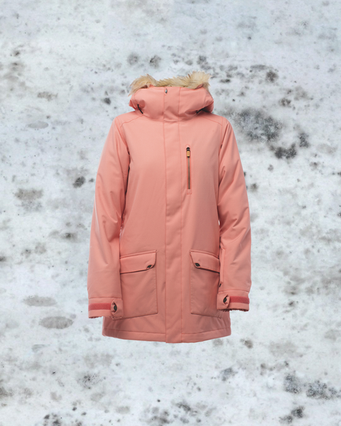 Mirte's go-to outerwear in Japan, The Hawthorne Jacket in Coral