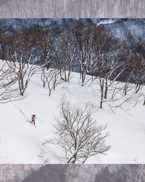 Mirte taking some turns down the snowy hillsides of Japan