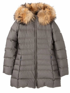 WOMEN'S LONG DOWN COAT WITH FIN RACCOON FUR