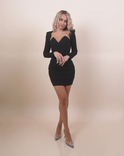 'HAILEY' Puffed Shoulders | Black Simple Long Sleeve | Midi Evening Dress