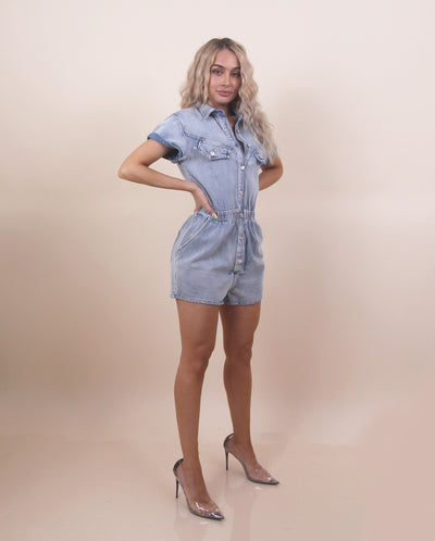 'EMILY' Denim Collard Detailed | Short Sleeves | Button/Pocket Detailed Mini Romper