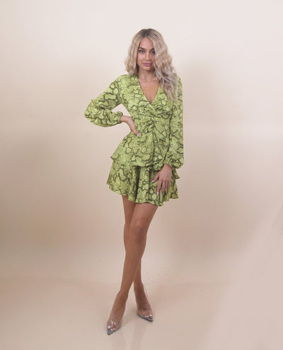 'DIANA' Snake Print | Long Sleeve | Off Shoulder | Ruffle Detailed | Animal Print Mini Dress