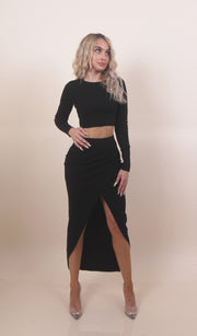 'KAYLA' Middle Slit Detailed | High Waisted | Maxi Slit Set Skirt