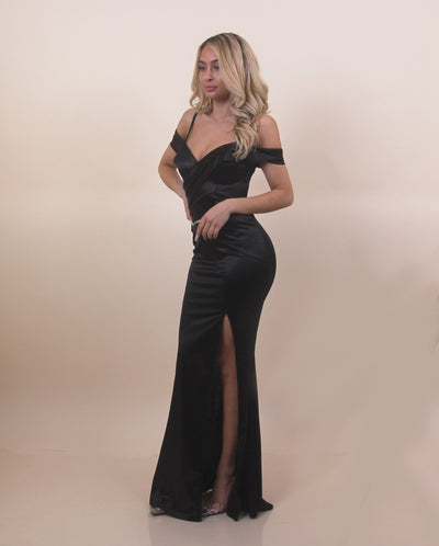 'TIANNA' Off Shoulder | Satin/Silky | Strap Detailed | Cross Over Maxi Evening Gown/Dress