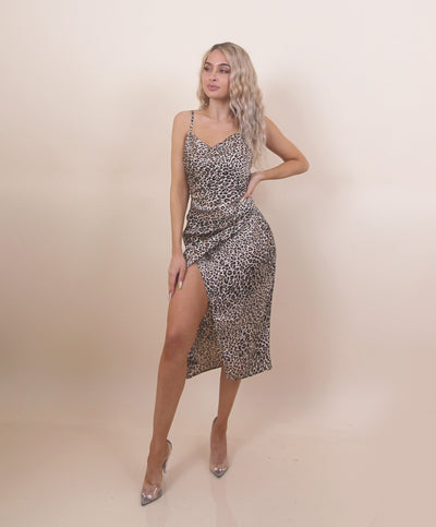 'JANET' Cheetah Prit | Slit Detailed | Maxi Long Silky Summer Dress