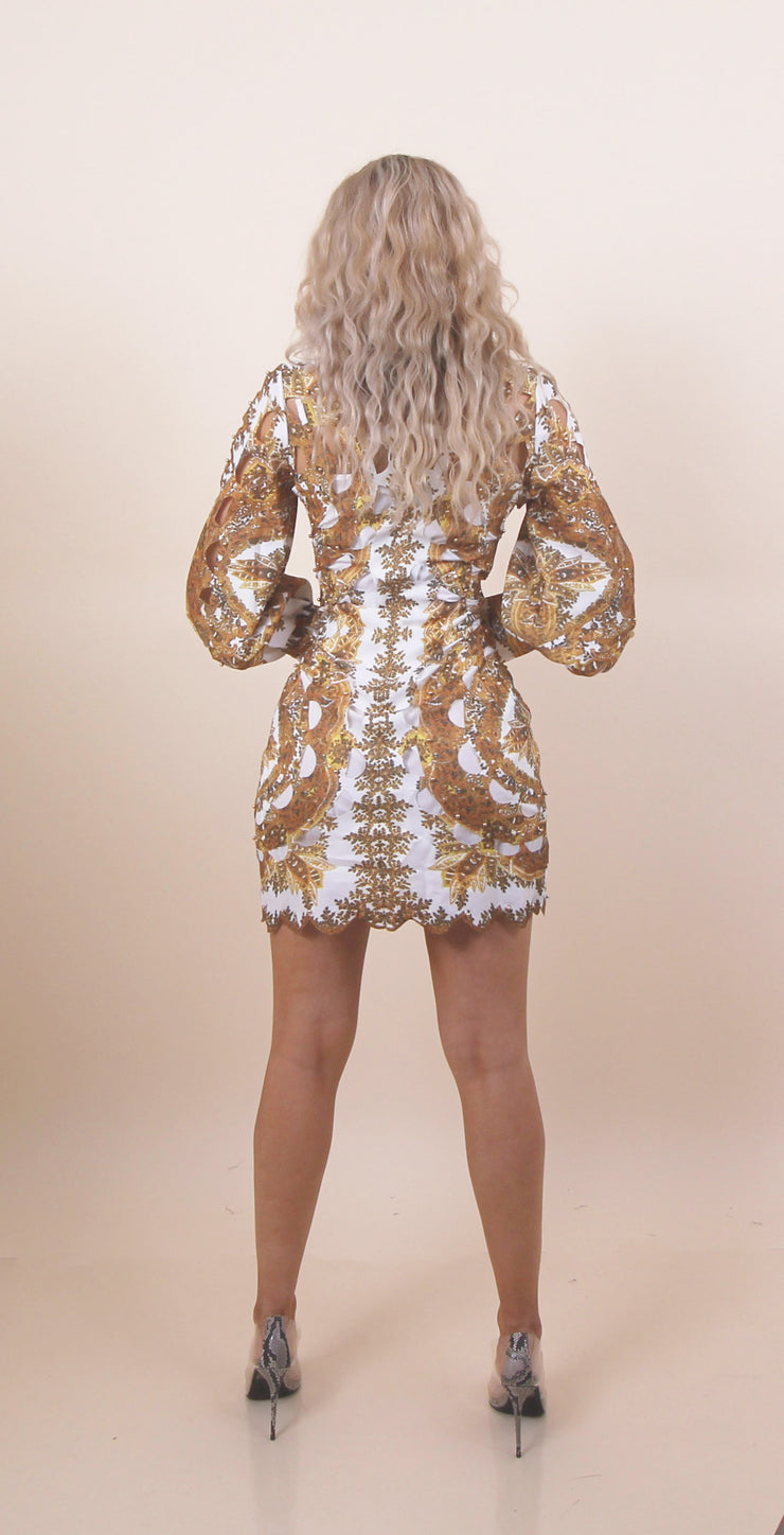 'VERA' Gold Beaded Detailed | Cutted Pattern | Turtle Neck Detail Midi Dress