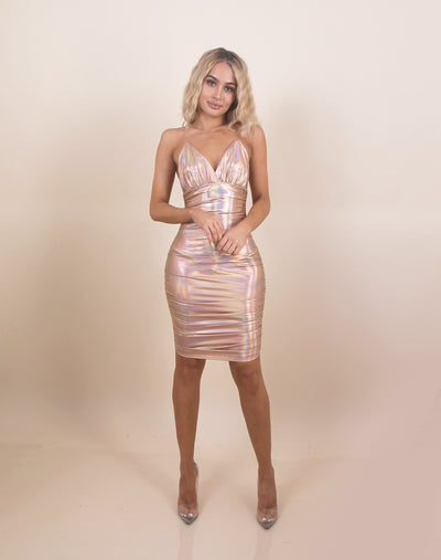 'ABBY' Reflective/Shine Detailed | Clear Straps | Crunched Up Detail | Mini Evening Dress
