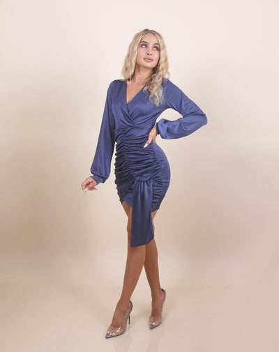 'CHARLOTTE' Long Sleeve | Silky/Satin | Ruffle Detailed | Crunched Up Detail Mini Evening Dress