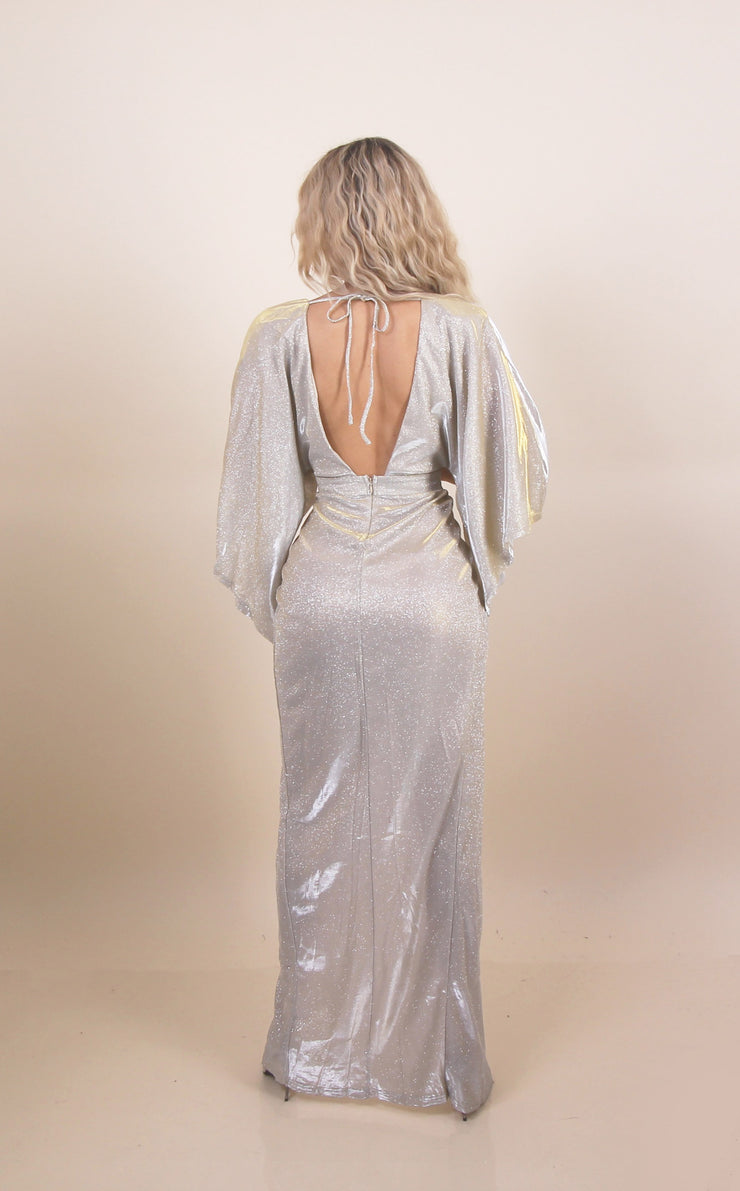 'VALENTINA' Reflective/Shiny | Glitter Detailed | Cross Over | Slit Detailed Maxi Evening Dress