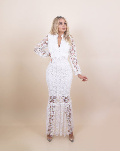 'ANGELIC' Crochet Detailed | Button Up Chest Detailed | Long Sleeve Maxi Evening Dress