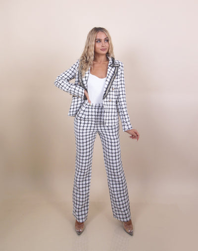 'GIOVANNA' BlazerXPants | Checkered Detailed | Gold Button Detailed Two Piece Set