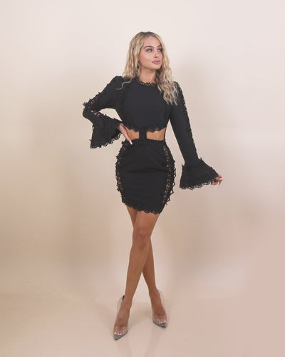 'ALINA' Crochet Detailed | Skirt/Top Two Piece Connected | Bell Sleeve Detailed Mini Dress