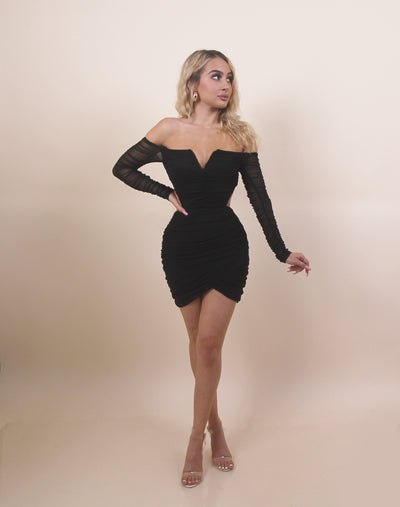 'CYNTHIA' Off Shoulder | Mesh Detailed | Open Back | Long Sleeve Mini Evening Dress