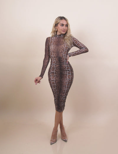 'MEGAN' Cheetah Printed | Under Romper Piece | Turtle Neck | Long Sleeve Midi Mesh Dress