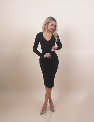 'EMILY' Long Sleeve | Front Knot Tied | Midi Basic Evening/Day Dress