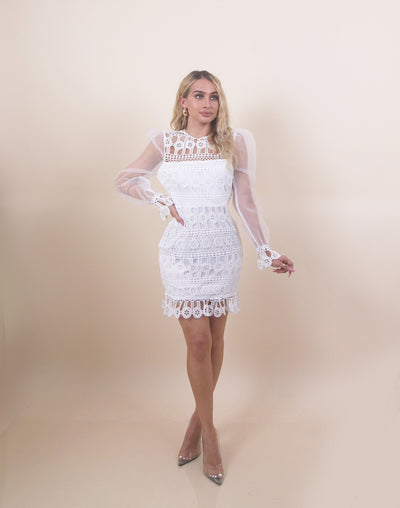 'GRACIE' MeshXCrochet | Mesh Sleeve Detailed | Puffed Arms | White Midi Evening Dress