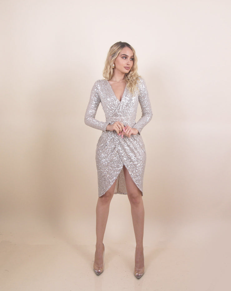 'AMY' Sequin Detailed | Cross Over | Low V Detailed | Midi Evening Cocktail Dress