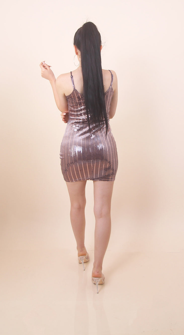 'LENA' Sparkle Dress Rose Gold