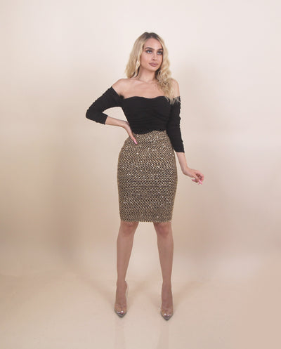 'ELENA' Gold Detailed | High Rise | Maxi Skirt / Sleeveless Mini Evening Dress