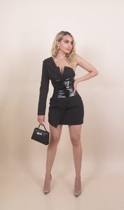'MISSOURI' Leather Belted Blazer Dress