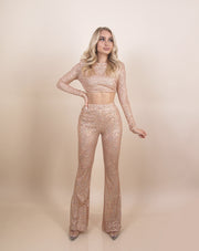 'JANICE' TopXPants | Sequin Top | Sequin Flare Pants | Padded Shoulders Detailed | Two-Piece Set