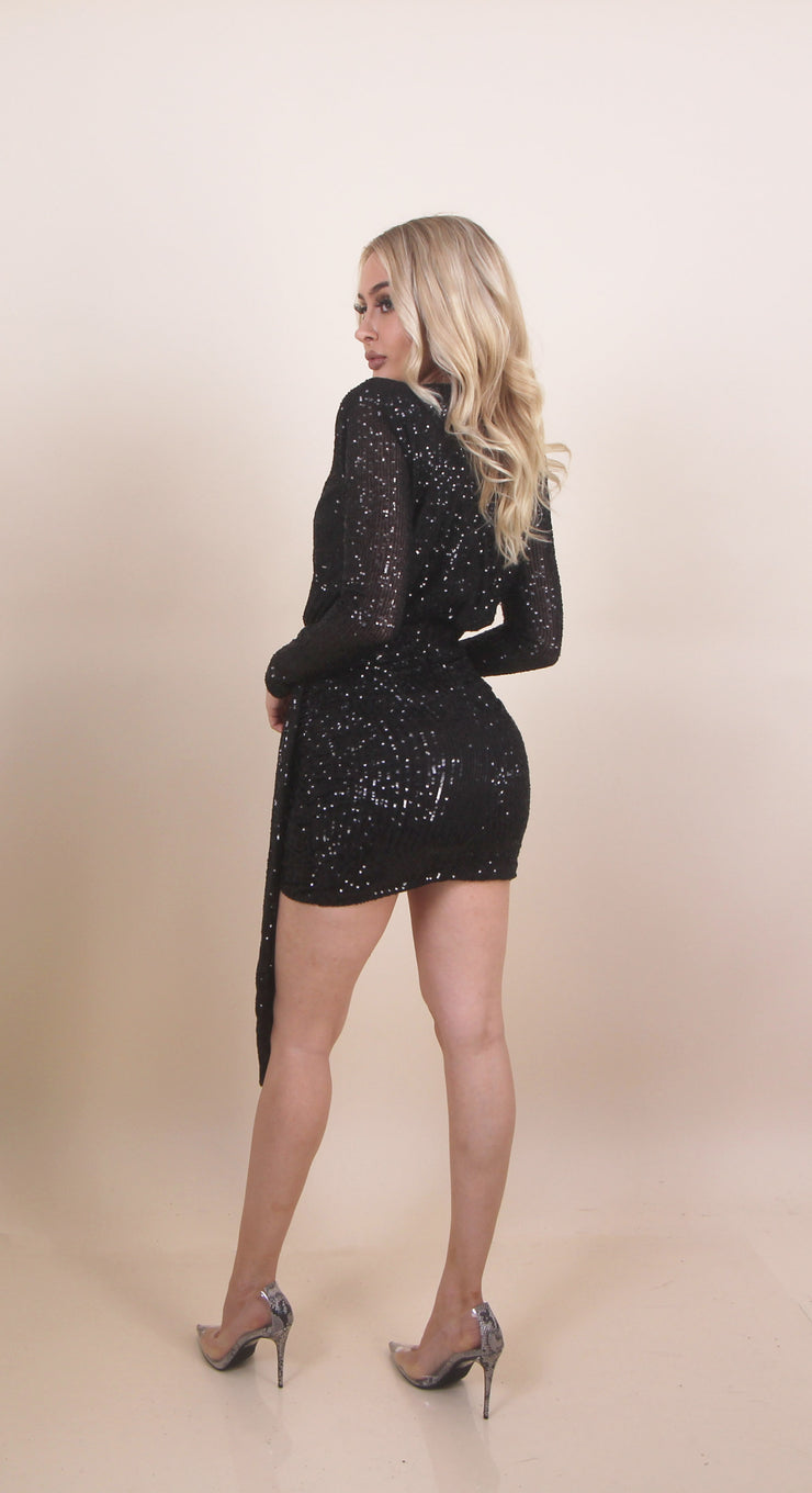 'WHEN YOUR EX SEES YOUR NEW GIRLFRIEND' Sequin Long Sleeve | V Cut Mini Dress