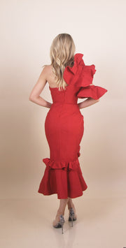 'ANASTASIA' Bow Chest Detailed | One Shoulder | Ruffle Detailed | Midi Red Evening Gown