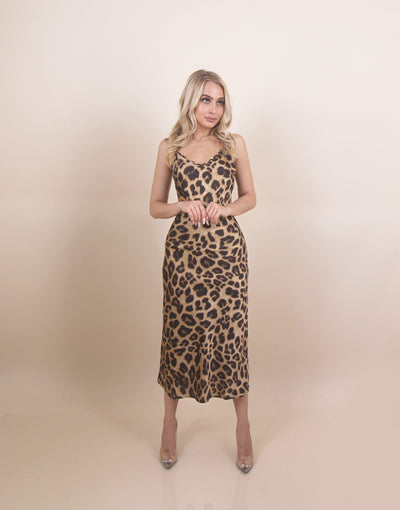 'JANICE' Cheetah Print | Silky Sleeveless | Maxi Evening Tank Dress