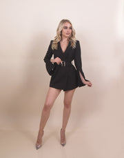 'BECCA' Slit Arms Detailed | Under Shorts | Long Sleeve | Belted Detailed Mini Blazer Romper