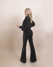 'JE TAIME' Side Pattern Detailed | Flare Bottom Detailed | High Waisted Dressy Pants