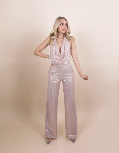 'TINA' Low Ruffle Chest Detailed | Low Back | Shiny | Flare Bottom Detailed | Evening Jumpsuit