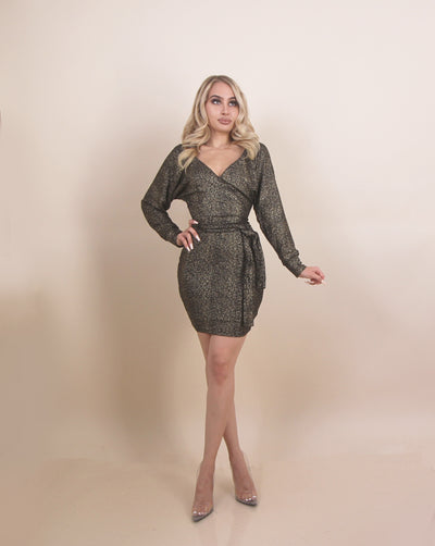 'JESSIE' Black & Gold | Tie Detailed Waist | Low V | Long Sleeve | Shimmer Mini Dress