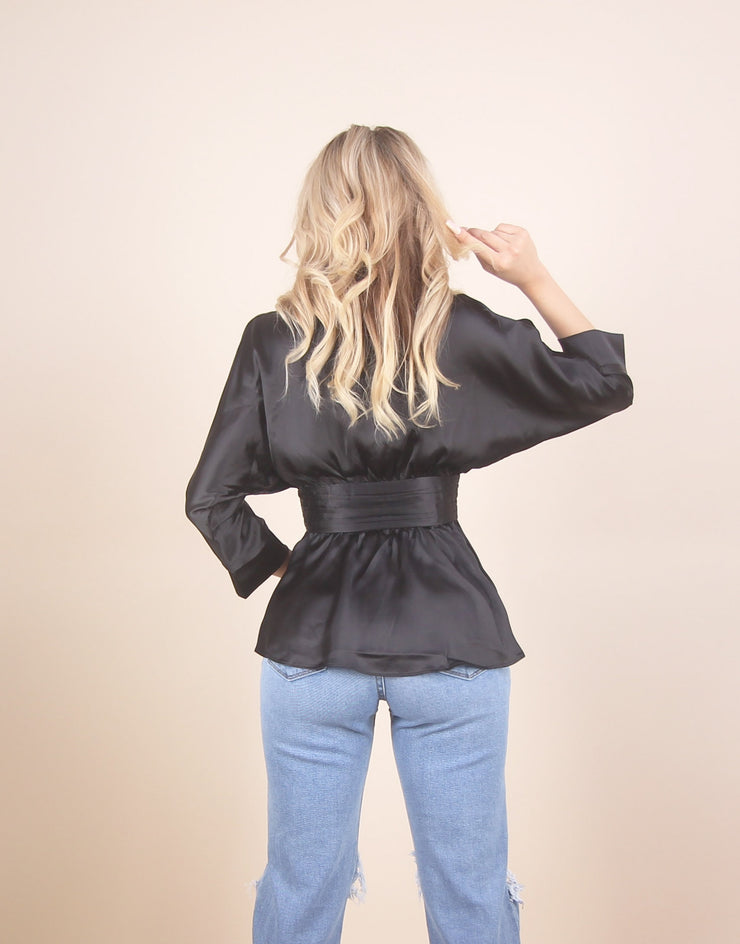 'LEXI' Satin/ Silky Detailed | Double Button Detailed | Slim Waisted | Blouse/Top