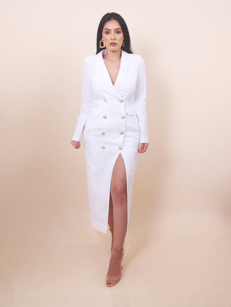 'BECCA' Slit Dress - White