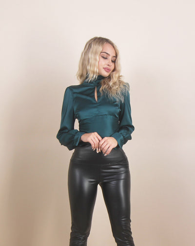 'CYNTHIA' Satin\Silk  | Cropped Detailed | Tight Waist | Open Back | Turtle Neck | Blouse/Top