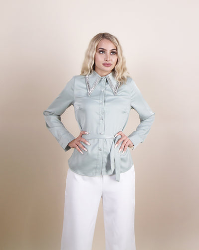 'PARISIENNE' Satin Rhinestone | Collar Detailed | Button Up Blouse/Top